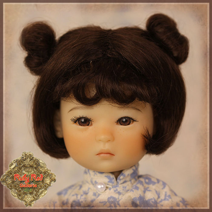 HD0010A Dark Brown Mohair Wig with Buns