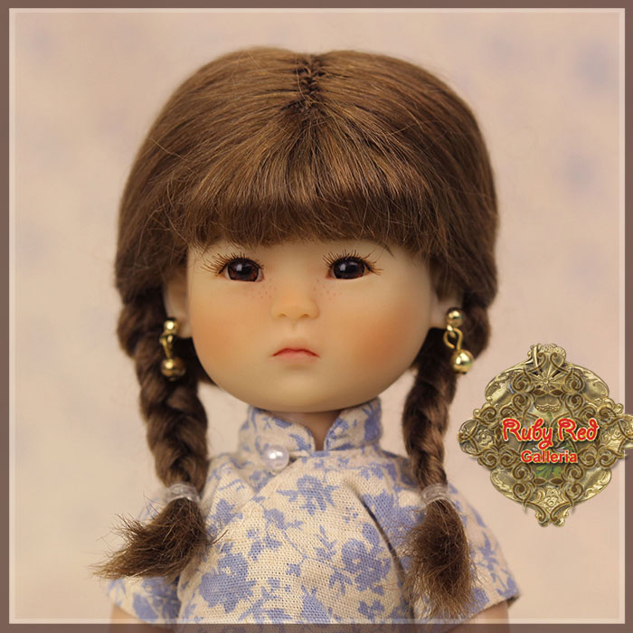 HD0019A Ten Ping Brown Mohair Wig with Braids