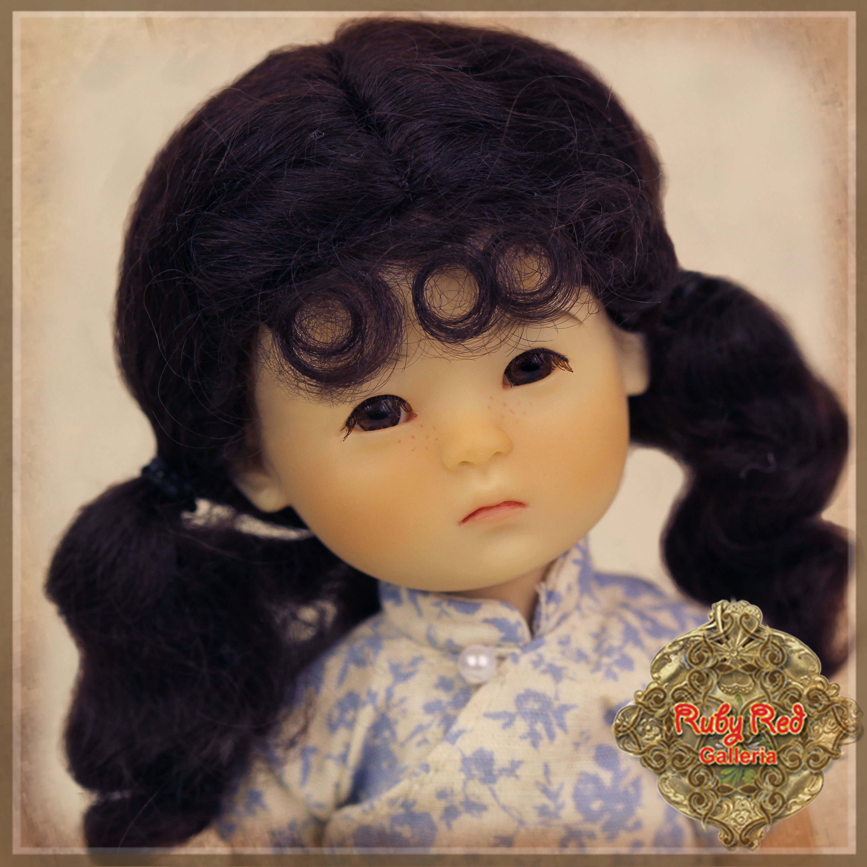 HD0026A Ten Ping Dark Brown Mohair Wig with Pigtails