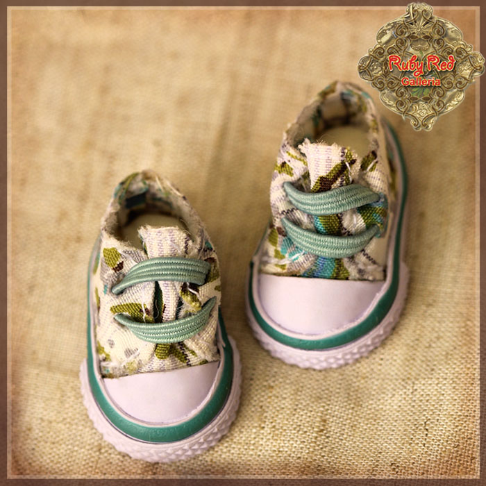 HH0013A Green Floral Print Canvas Shoes