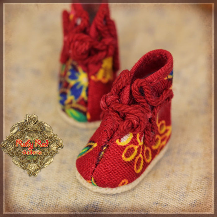 HH0040A Yu Ping Red Printed Fabric Shoes