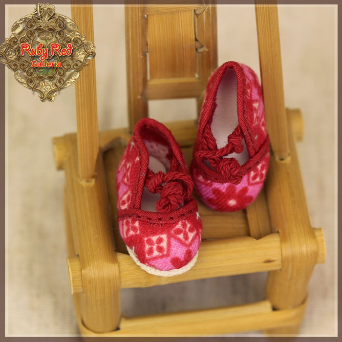 HH0041A Yu Ping Pink Printed Fabric Shoes