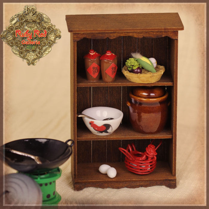HZ0012A Cooking Utensil Set with Brown Cabinet