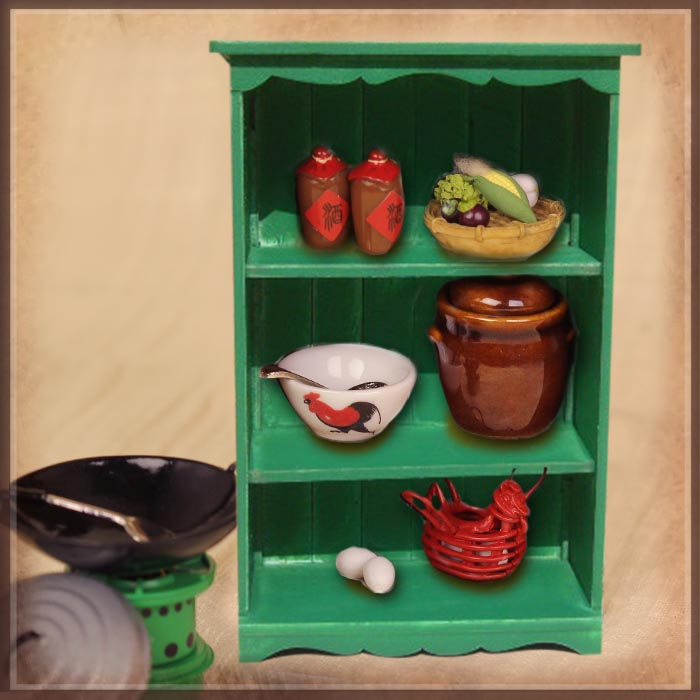 HZ0012D Cooking Utensil Set with Green Cabinet
