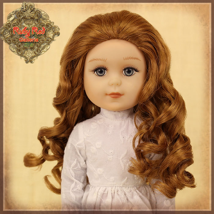 "KD0003C Curly Brown Parting Wig for 14"" Play Girl"