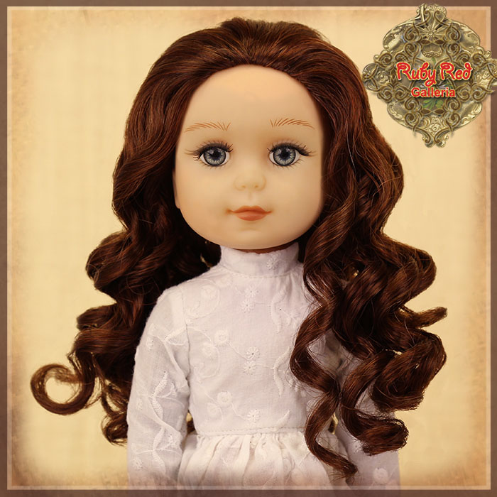 "KD0003D Curly Auburn Parting Wig for 14"" Play Girl"